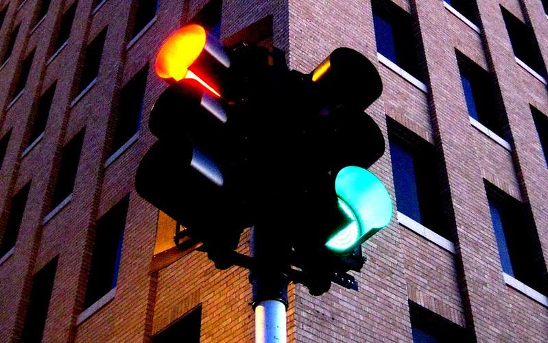 Traffic light protocol image on street corner