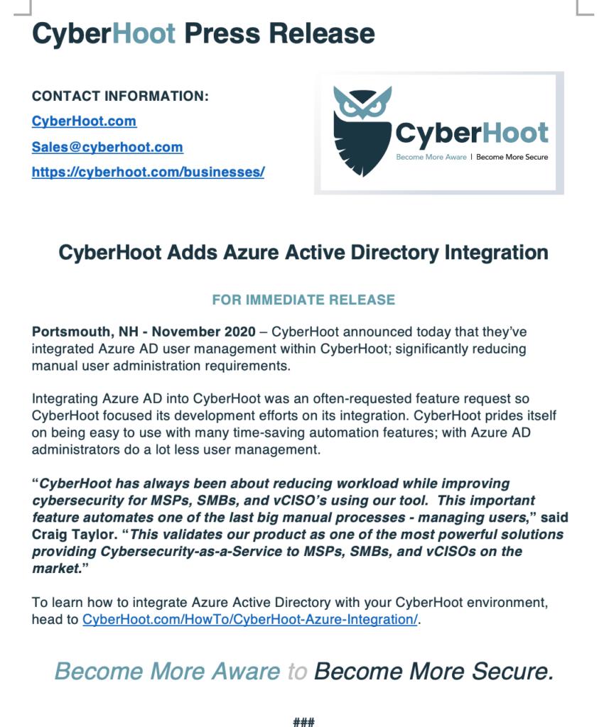 cyberhoot press release