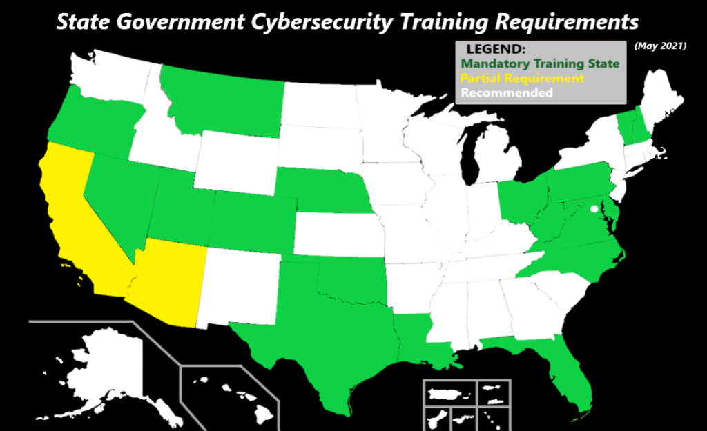 cybersecurity laws by state USA map