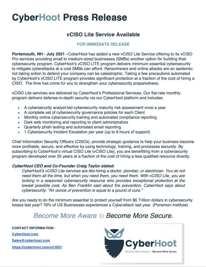cyberhoot july press release