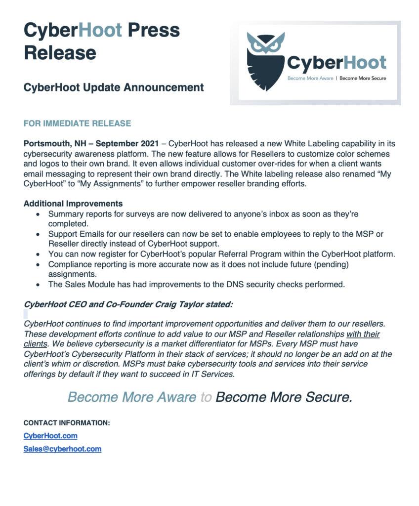 cyberhoot september press release